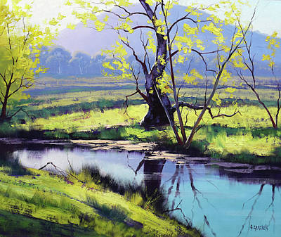 Autumn Landscape Painting - Winter On Fish River Australia by Graham Gercken