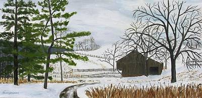 Painting - Winter On Hill Crystal Farm by Barb Pennypacker