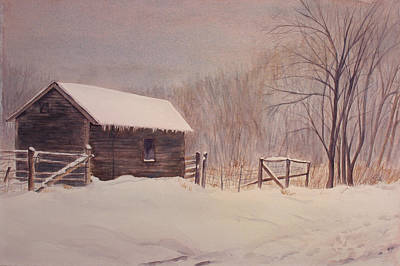 Snowscape Painting - Winter On The Farm  by Debbie Homewood