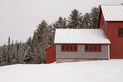 Frame House Photograph - Winter On The Farm by Edward Fielding