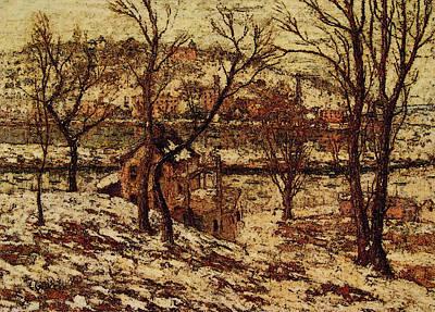 Harlem River Digital Art - Winter On The Harlem River by Ernest Lawson
