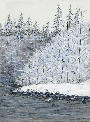 Painting - Winter On The River by Sara Stevenson