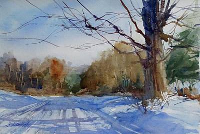Painting - Winter On White Road by Sandra Strohschein