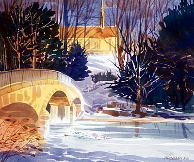 College Campus Painting - Winter On Wolf Creek by Lee Klingenberg