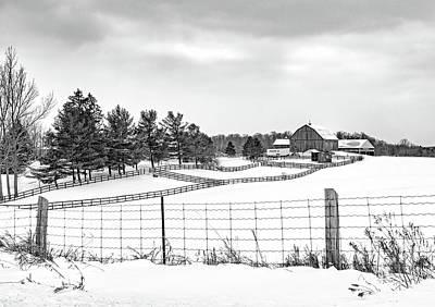 Photograph - Winter Ontario Farm 3 Bw by Steve Harrington