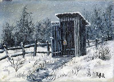 Painting - Winter Outhouse #2 by B J Blair