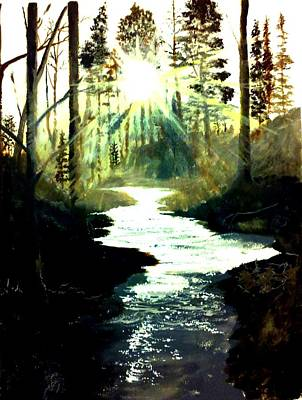 Sun Rays Painting - Winter Over Almond Creek by Travis  Ragan