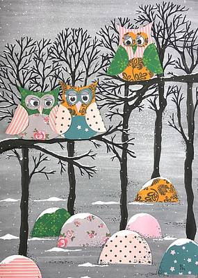 Painting - Winter Owls by Stefanie Stark