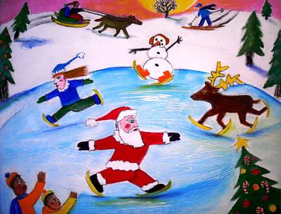 Winter Party With Santa And Rudolph Art Print by Ward Smith