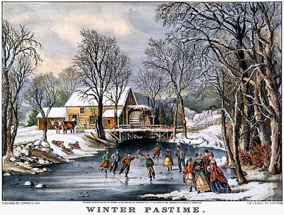 Photograph - Winter Pastime, 1870 by Granger