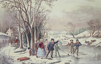 Hockey Games Painting - Winter Pastime by Currier and Ives
