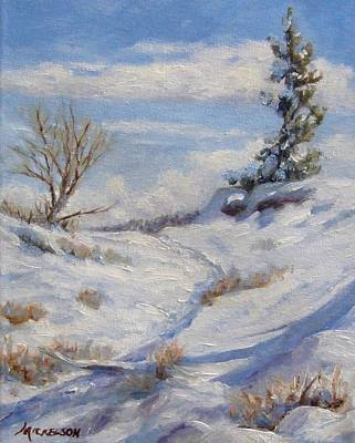 Winter Path Art Print by Debra Mickelson