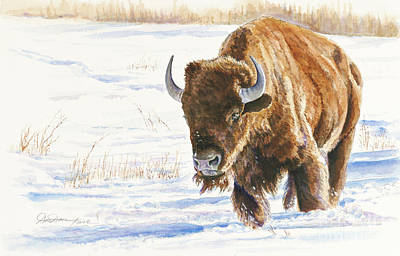 Yellowstone Painting - Winter Path Of The Buffalo by Don Dane