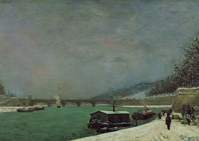Barges Painting - Winter by Paul Gauguin