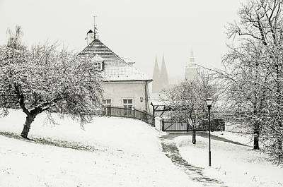 Photograph - Winter Petrin Park Monochrome. Snowy Walk In Prague by Jenny Rainbow