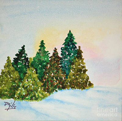 Painting - Winter Pines by Terri Mills
