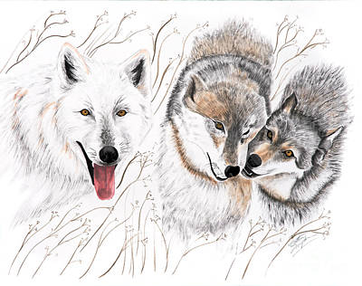 Wolf Painting - Winter Play by Joette Snyder