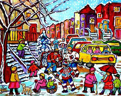 Winter Playground Montreal Hockey Kids Street Hockey Street Scene Painting Carole Spandau Print by Carole Spandau