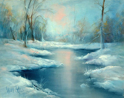 Winter Pond Art Print by Sally Seago