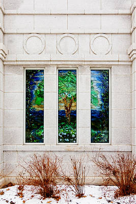Photograph - Winter Quarters Temple Tree Of Life Stained Glass Window Details by Greg Collins