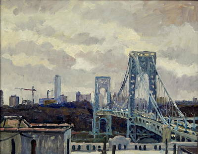 Painting - Winter Rain George Washington Bridge by Thor Wickstrom