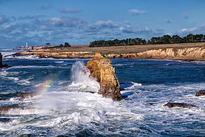 Mendocino California Coast Photograph - Winter Rainbows In The Surf by Kathleen Bishop