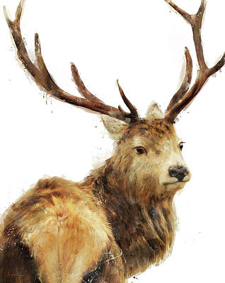 Buck Painting - Winter Red Deer by Amy Hamilton