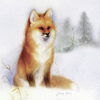 Red Fox Painting - Winter Red Fox by Tracy Herrmann