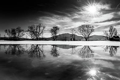 Photograph - Winter Reflection Bw 2 by Tim Kirchoff