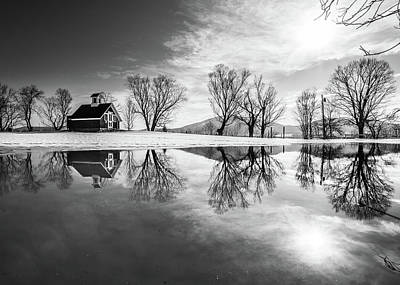 Photograph - Winter Reflection Bw by Tim Kirchoff