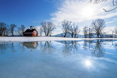 Photograph - Winter Reflection Landscape by Tim Kirchoff