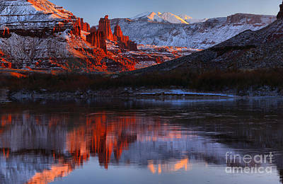 Moenkopi Sandstone Photograph - Winter Reflections At Fisher Towers by Adam Jewell