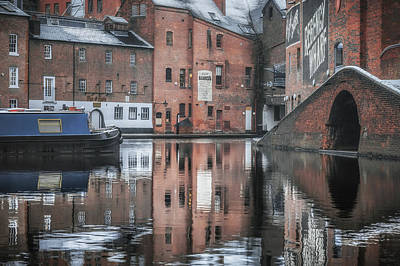 Barges Photograph - Winter Reflections At Gas Street Basin by Chris Fletcher