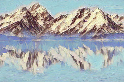 Painting - Winter Reflections At Grand Teton National Park by Dan Sproul