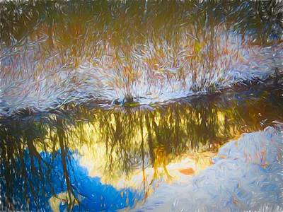 Digital Art - Winter Reflections In A Small Stream by Rusty R Smith