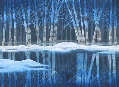 Mystical Landscape Painting - Winter Reflections by Mikki Alhart
