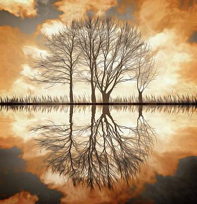 Digital Art - Winter Reflections by Richard Farrington