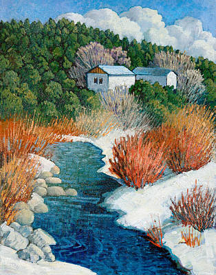 Painting - Winter River by Donna Clair