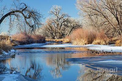 Photograph -  Winter River In Colorado by Marek Uliasz