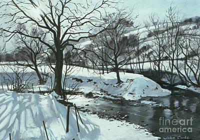 Snowy Stream Painting - Winter River by John Cooke