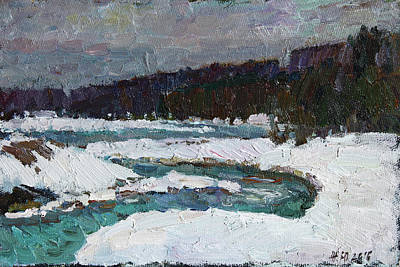 Painting - Winter River by Juliya Zhukova