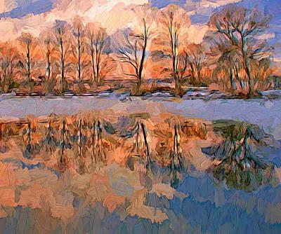 Digital Art - Winter River Reflections by Yury Malkov