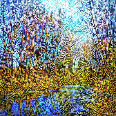 Digital Art - Winter River Wandering by Joel Bruce Wallach