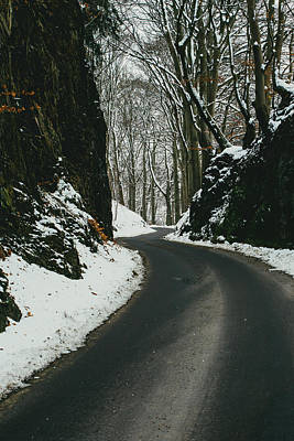 Winter Road And Snow Print by Pati Photography