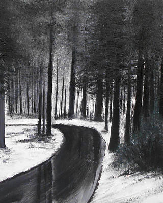 Mixed Media - Winter Road by Angela Stout