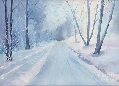 Painting - Winter Road Krkonose Mountains, From Photo By Milos Polacek by Yohana Knobloch