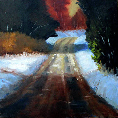 Painting - Winter Road Landscape by Nancy Merkle