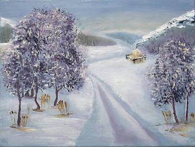 Winter Roads Drawing - Winter Road by Minnur Galimzyanova