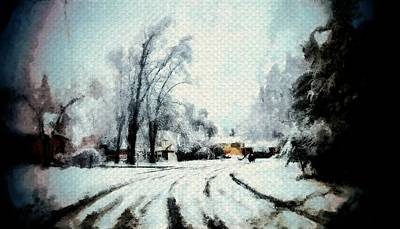 Painting - Winter Road Snow Tracks Painting Sketch Of Trees And Cold Season by MendyZ
