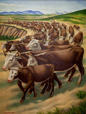 Cattle Roundup Painting - Winter Roundup by Mountain Dreams